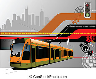 Abstract hi-tech background with tram image. Vector...