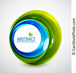 Abstract hi-tech circle - Green glossy abstract techno...