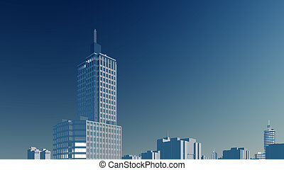 Abstract high rise building against blue sky