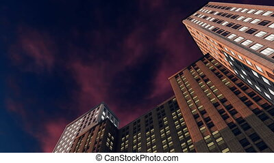 Abstract high rise buildings at night 4K