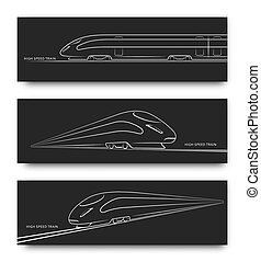 Abstract high speed train in motion. Set of modern train silhouettes, outlines, contours isolated on black background. Side and perspective view. Vector illustration