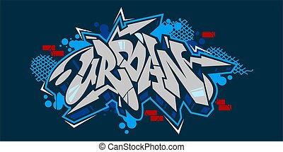 Abstract Hiphop Graffiti Style Word Urban Vector Typography Illustration