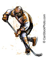 Abstract hockey player from splash of watercolors. Hand drawn sketch. Winter sport