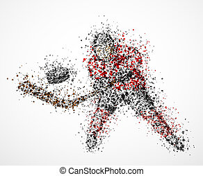 Abstract hockey player, shoots the puck. Eps 10