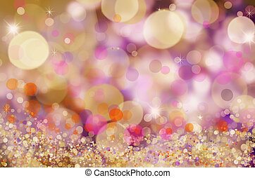 Abstract holiday background, beautiful shiny Christmas lights, glowing magic bokeh