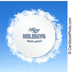 Abstract holiday background with blue sky and clouds. Vector.
