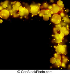 Abstract holiday border of glowing bokeh lights isolated on...