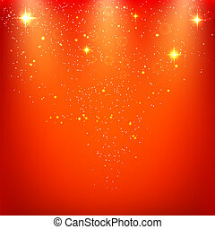 Abstract holiday red background with stars. Vector illustration