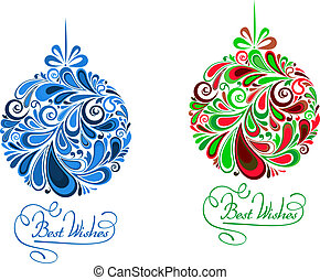 Abstract holidays balls in floral style