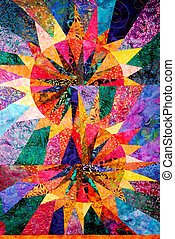 Abstract Homemade Quilt - A bright home made quilt in sun...