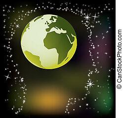 abstract, hoofd, -, globe, illustratie