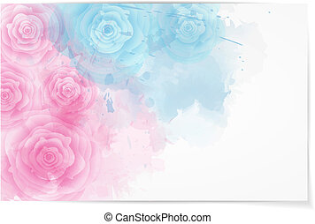 Abstract horizontal background with roses
