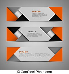 Abstract horizontal banners with orange gray design template