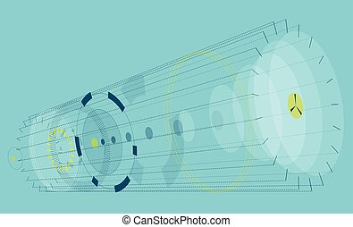 Abstract horizontal composition on blue background. Vague...