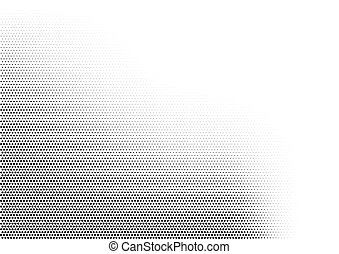 Abstract horizontal halftone monochrome background with dots of different size accumulated in left bottom angle. Grunge gradient dotted texture. Modern vector illustration in black and white colors.