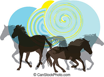 Abstract horses silhouettes. Vector