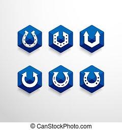 Abstract Horseshoe Vector Logo Design Template