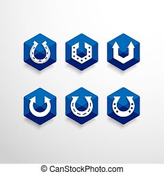 Abstract Horseshoe Vector Logo Design Template - Set of...