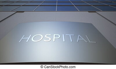 Abstract hospital signage board. Modern office building.