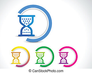 abstract hourglass button vector