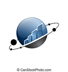 Abstract house globe logo design template. Line real estate planet sign. Universal global realty vector icon