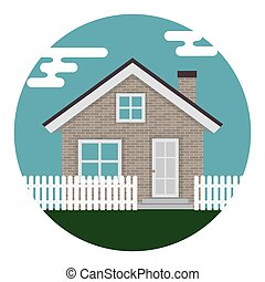 Abstract House Icon on White Background. Vector Illustration
