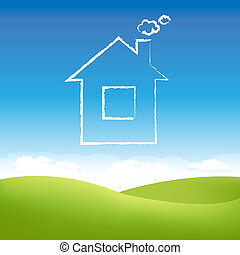 Abstract House In Sky