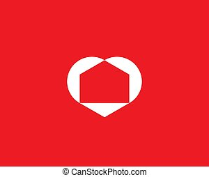 Abstract house in the heart logo icon design modern minimal style illustration. Love home negative space vector emblem sign symbol mark logotype