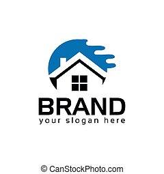 Abstract house logo - Blue house. logo vector illustration