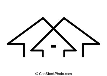 Abstract house logo design isolated on white background, vector illustration
