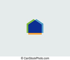 Abstract house logo design template. Colorful real estate modern symbol. Universal realty vector icon