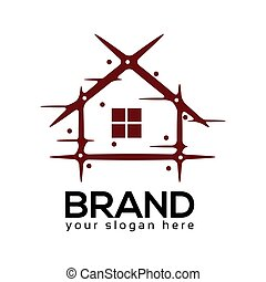 Abstract house logo. flat design. Vector Illustration on white background