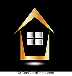 Abstract house- logo for real estate business in gold