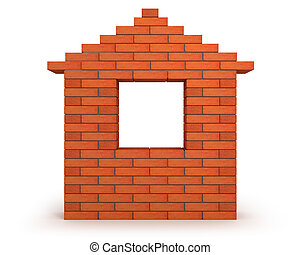 Abstract house made from orange bricks front view - Abstract...