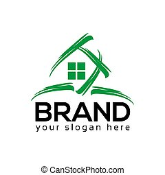 Abstract House Realty Logo, flat design. Vector Illustration on white background