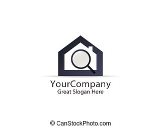 abstract house search logo icon design. find home sign concept for real estate.