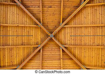 abstract, hout, model, op, hoog, plafond