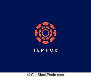 Abstract hubs flower logo design template. Geometric dot circle science medical media sign. Universal energy tech planet star atom vector icon