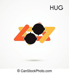 Abstract hug symbol. This graphic also represents couple in love, hug and embrace, close friends together, events like engagement.