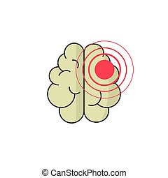 Abstract human brain injury stroke cartoon vector illustration