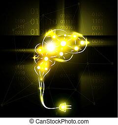Abstract human brain with plug.