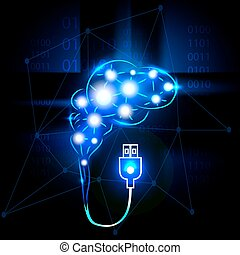 Abstract human brain with usb.