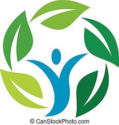 Abstract Human Circle Leaf Logo Easy Editable With High...