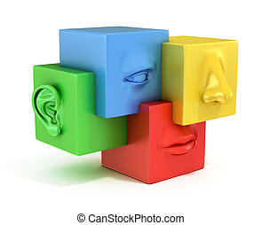 abstract human face 3d illustration 3d illustration