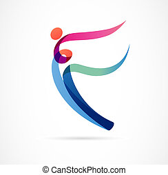 Abstract human figure logo design. Gym, fitness, running trainer vector colorful logo. Active Fitness, sport, dance web icon and symbol