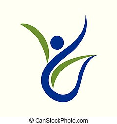 Abstract Human Figure Swoosh Healthy Symbol Logo Design