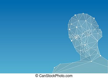 Abstract human head on blue background