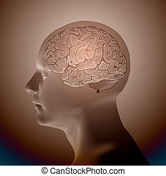 Abstract Human Head with a Brain.