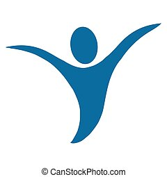 abstract human with open arms icon - simple flat design...