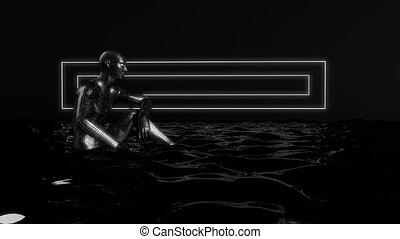 Abstract humanoid form sitting in water. Sci-fi concept. 3D...